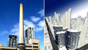 '2500 apartments' ... the Lonsdale Street power station chimney before its demolition (left) and the developer's plans for the site (right).
