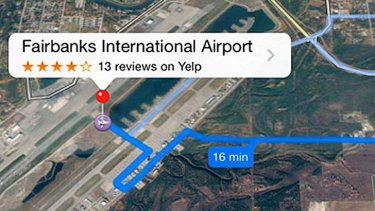 Apple Maps originally offered this dangerous route to the airport in Fairbanks.