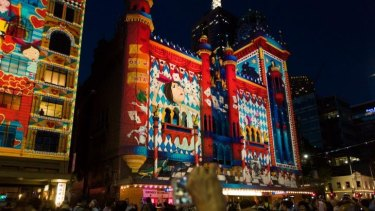 Flinders Street illuminated by lights at White Night Festival, Melbourne.
