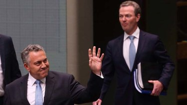 Restoring everyone's faith in the civility of Parliament: Joe Hockey and Christopher Pyne arrive for question time on Thursday.