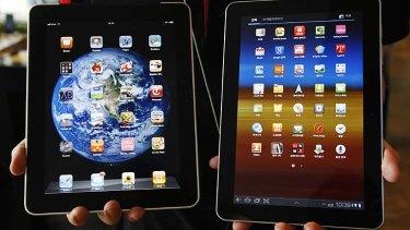 At loggerheads ... Apple's iPad, left, and Samsung's Galaxy Tab 10.1.