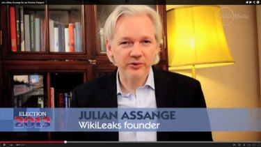 Challenge: Julian Assange, a Senate candidate at the federal election, wants Swedish police to investigate US intelligence activity.