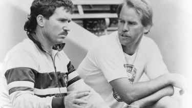 David Hookes with Allan Border in the 1980s.