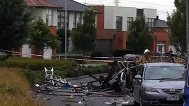 The aftermath of the van blast in Stadium Circuit, Mulgrave.
