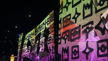 Federation² by Reko Rennie and Electric Canvas, projected onto the facade of Federation Square as part of White Night Melbourne, will return this week for The Light in Winter.