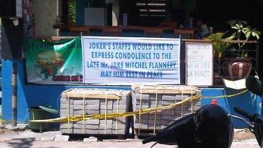 The condolence sign outside Joker's in Kuta.