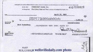 A cheque Paul Ceglia has from Mark Zuckerberg.