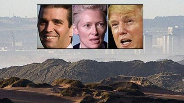 """Controversy ... Donald Trump, inset right, is building a golf course in Scotland. Donald Trump Junior, inset left, described the protesters, who include actress Tilda Swinton, inset centre, as """"teenage people""""."""