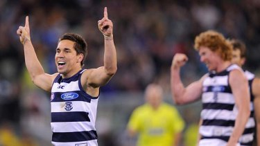 Cat skills: Mathew Stokes celebrates a goal.