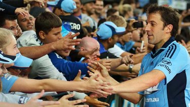 Shake on it: Alessandro Del Piero and his Sydney fans.