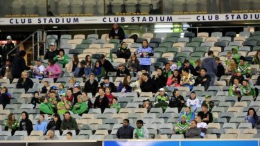 Empty seats: Another small crowd at Canberra Stadium last year.