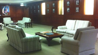 Some of the damaged sofas in the Premier's office.