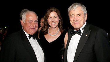Tony Vallelonga (left) photographed at the Lexus Ball with media mogul Kerry Stokes and his wife Christine.