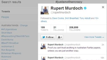 Mr Murdoch's tweets could get him into trouble, an expert warns.