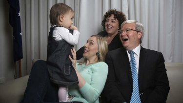 Family politics: Kevin Rudd with wife Therese Rein, daughter Jessica and granddaughter Josephine.