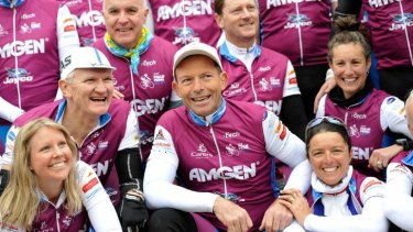 Tony Abbott on Pollie Pedal last year before the 2013 election. The charity that benefits from the ride has criticised the government's planned changes to the welfare sector.