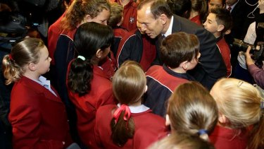 Opposition Leader Tony Abbott talks to students at the Penrith Christian School.
