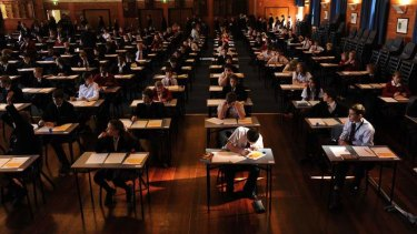 Focused: year 7 students sitting the NAPLAN test.