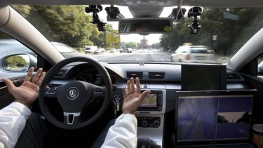 Car's computer steers, starts and stops the vehicle according to data received from a stereo camera, GPS system, odometer and other sensors that monitor the surrounding traffic.
