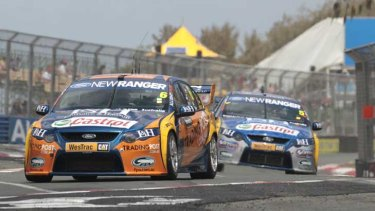 The Ford Performance Racing Ford Falcon of Will Davison and Mika Salo of Finland in Friday practice on the Gold Coast.