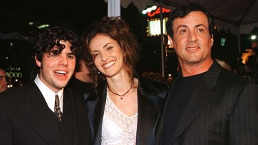 Sage Stallone with Amy Brenneman and Sylvester Stallone at the premiere of the 1996 film <i>Daylight</i>.