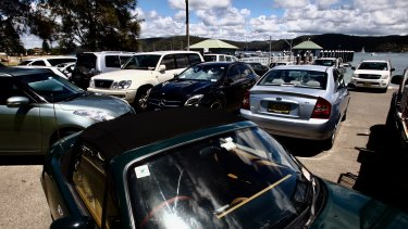 Cars that ate Palmy: a packed car park near the Pittwater Park Wharf.