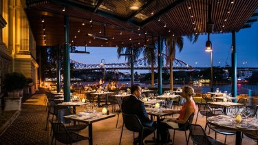 Take a seat on the romantic fairylit terrace with box seat Story Bridge vistas out front or in the heritage dining room with soaring ceilings and be treated to some top Mod Oz cuisine...