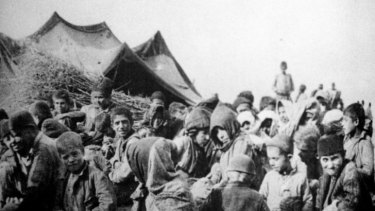 Armenians deported from their villages by the Turks.