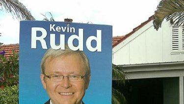 Party-free politics ... A Kevin Rudd campaign sign in the Brisbane suburb of Hawthorne today with something missing from the Labor logo.