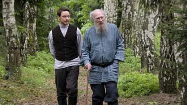 Reality bites ... Valentin Bulgakov (James McAvoy) becomes disillusioned as secretary for revered Russian novelist Leo Tolstoy (Christopher Plummer).