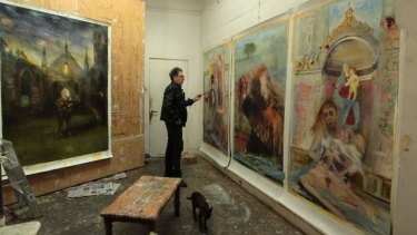 Unpredictable talent: Pople in his studio at home in Marrickville, Sydney.