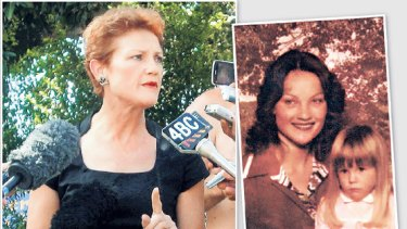 Pauline Hanson (left) stridently denies yesterday that she was the woman in the nude pictures published by News Limited newspapers (above right). A young Pauline Hanson (top right) with her stepdaughter Amanda, from Hanson's second marriage.