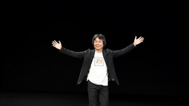 Nintendo's Shigeru Miyamoto appears on stage at the Apple event in California.
