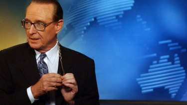 As he was then ... Brian Henderson announces his retirement on National Nine News in the Sydney studio in 2002.