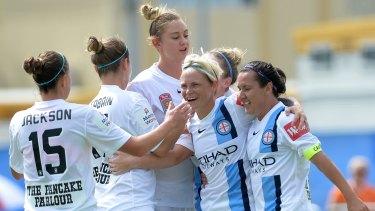W-League premiers: Melbourne City's Kim Little celebrates after scoring the decisive goal against Brisbane Roar.