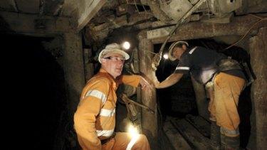 Geologist John Cahill and miner Stephen Hawkes venture underground at Maxwells Mine.