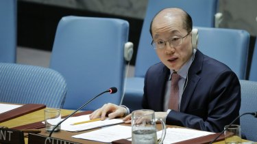 China's UN Ambassador Liu Jieyi speaks during the United Nations Security Council meeting in July.