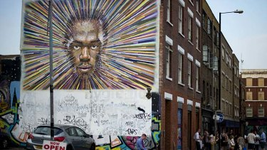 Striking ... Jamie Cochran received permission before creating his depiction of Jamaican sprinter Usain Bolt.