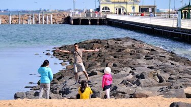 Shorts weather: A warm Father's Day on the first day of spring followed a mild and wet winter in Melbourne that broke records.