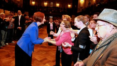 Prime Minister Julia Gillard at the NSW Labor annual state conference at the Sydney Town Hall.