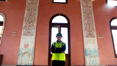 Italian intricacies … City of Sydney's architecture design manager, Chris McBride, with the discovery at Glebe Town Hall.