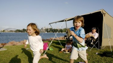 Ruby Deakin, 4, and Ashleigh Poolan, 5, on Cockatoo Island.