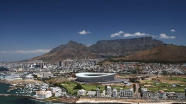 Green Point Stadium ... between Table Mountain and the Atlantic Ocean.