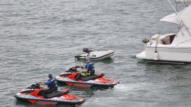 Police on jetskis patrol Sydney Harbour ahead of the NYE fireworks.