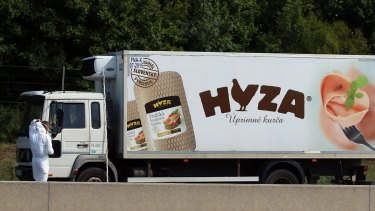 Police investigates a truck that  stands on the shoulder of the highway south of Vienna, Austria,