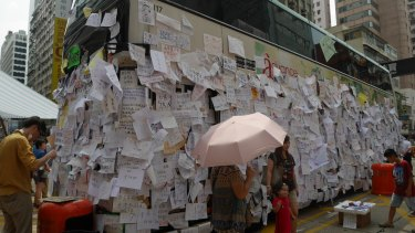 A public bus has become a focal point for the anti-government protest in Mong Kok.