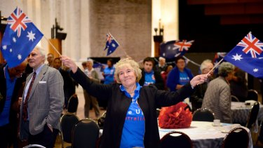 A supporter at the party's campaign launch.