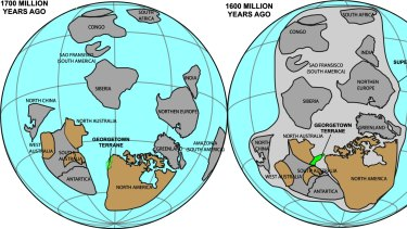 Reconstruction of the Nuna supercontinent showing the origin of Georgetown in relation to North America and Australia.