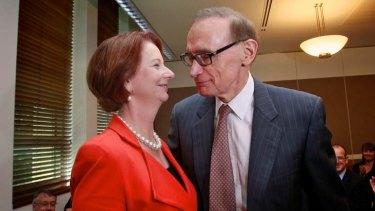 Julia Gillard on friendlier terms with Bob Carr last year.