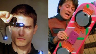 Touch screen computing has brought Minority Report, left, to life, while the hoverboard from Back to the Future, right, inspired an Australian company to make the Scarpar.